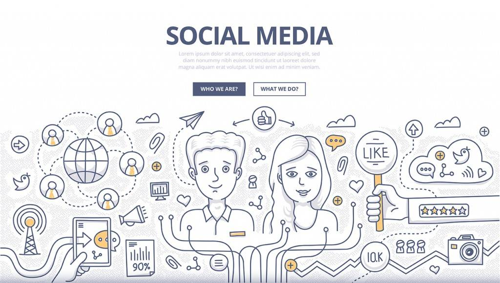 Doodle design style concept of social media technology, sharing information online, increasing social profile followers. Modern line style illustration for web banners, hero images, printed materials